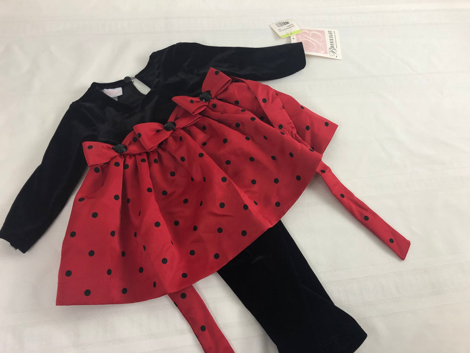 NWT 2pc Baby Red and Black Dress