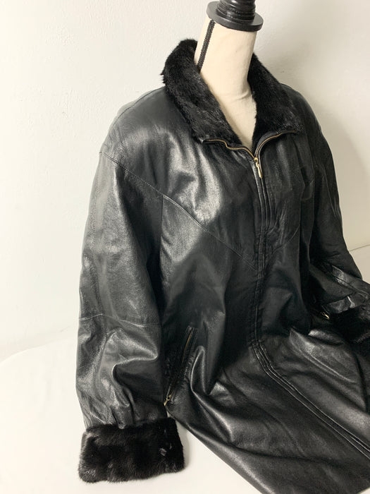 Vintage Marshall Fields Woman's leather mink coat