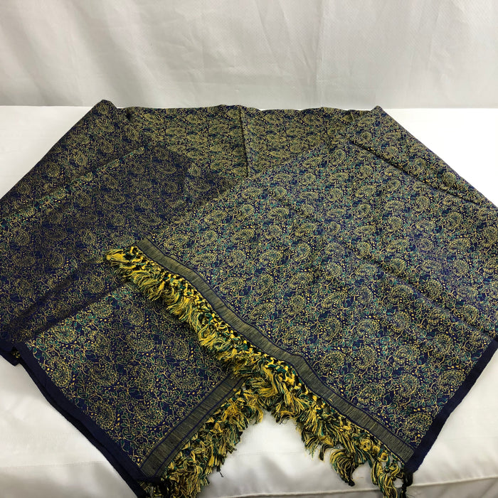 XL Blue and Gold Indian Scarf