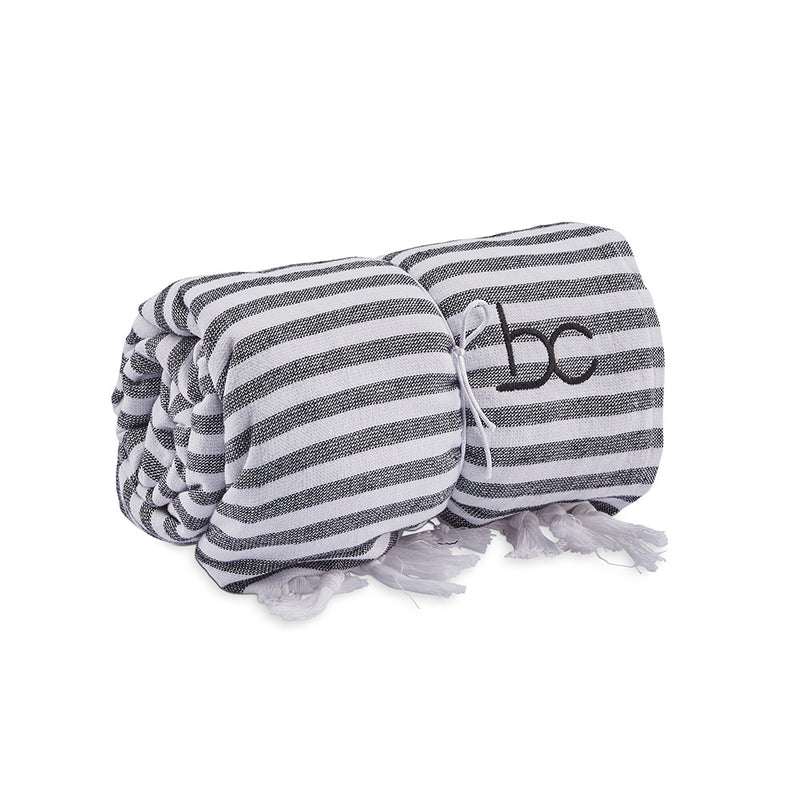 funky terry towel - black stripe
