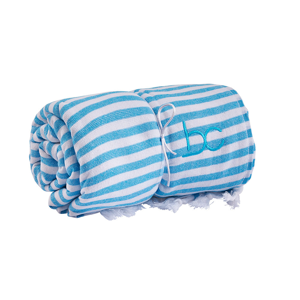 funky terry towel - aqua stripe