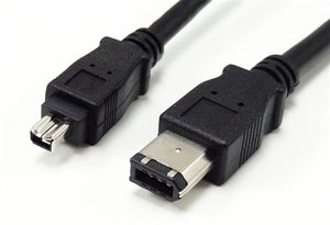 FireWire 400, 1394a, 6 Pin Male to 4 Pin Male Cable, Black, 10'