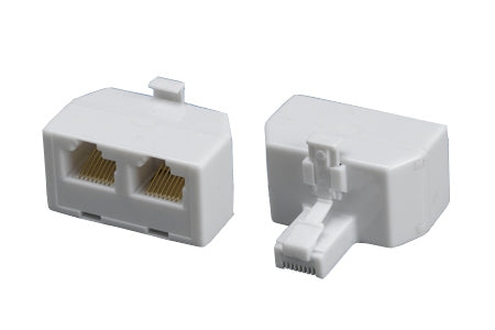 RJ45 Modular T-Adapter, 8P-8C, Male to 2 Female, White