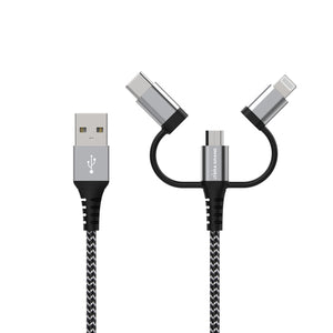 Apple MFi certified Lightning + USB-C + Micro USB - Universal 3-in-1 Sync and Charge Cable with Aluminum housings, 4 ft Black-White