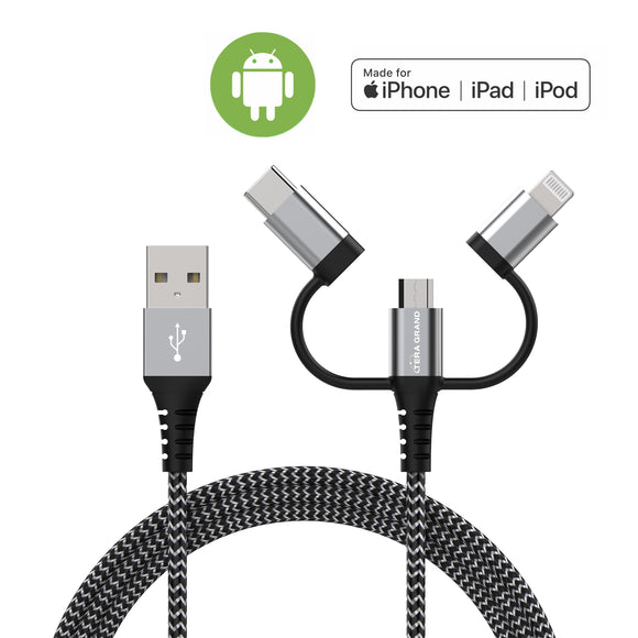 Apple MFi certified Lightning + USB-C + Micro USB 3-in-1 Charging Cable with Aluminum housings, 4 ft Black-White