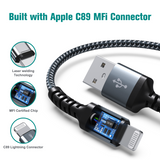 Apple C89 MFi Certified - Lightning to USB Braided Cable with Aluminum Housing, 4 Ft Midnight Green-Silver