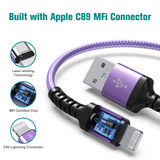 Apple C89 MFi Certified - Lightning to USB Braided Cable with Aluminum Housing, 4 Ft Purple