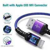 Apple C89 MFi Certified - Lightning to USB Braided Cable with Aluminum Housing, 4 Ft Purple-Blue