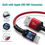Apple C89 MFi Certified - Lightning to USB Braided Cable with Aluminum Housing, 4 Ft Red