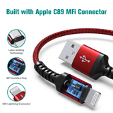 Apple C89 MFi Certified - Lightning to USB Braided Cable with Aluminum Housing, 4 Ft Red-Black