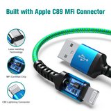 Apple C89 MFi Certified - Lightning to USB Braided Cable with Aluminum Housing, 7 Ft Blue-Green