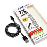 Apple MFi Certified - 7X Durable Lightning to USB Braided Cable, 4 Ft Black-White