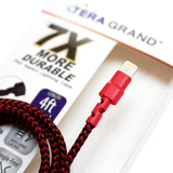Apple MFi Certified - 7X Durable Lightning to USB Braided Cable, 4 Ft Red-Black