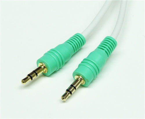 3.5mm Stereo Male to Male Audio Cable with Green connector, 25'