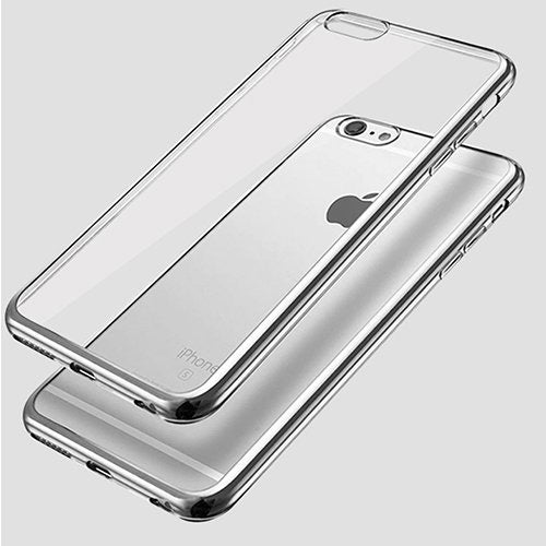 iPhone 6-6s Ultra Thin Soft Gel TPU Silicone Case with Electroplating Technology, Silver