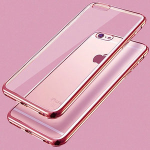 iPhone 6 Plus-6s Plus Ultra Thin Soft Gel TPU Silicone Case with Electroplating Technology, Rose Gold