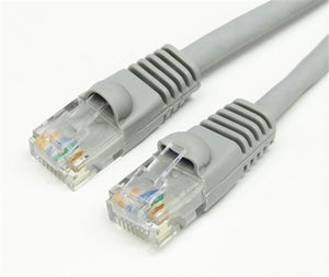 CAT5E 350MHz 24 AWG UTP Bare Copper Ethernet Network Cable, Molded Gray 100 FT
