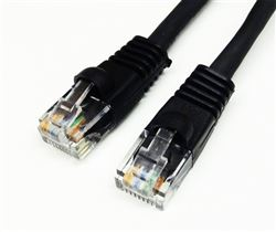 CAT5E 350MHz 24 AWG UTP Bare Copper Ethernet Network Cable, Molded Black 5 FT