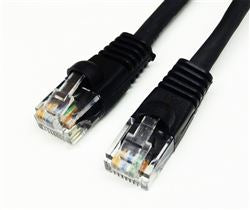 CAT5E 350MHz 24 AWG UTP Bare Copper Ethernet Network Cable, Molded Black 15 FT