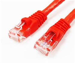 CAT5E 350MHz 24 AWG UTP Bare Copper Ethernet Network Cable, Molded Red 25 FT