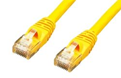 CAT5E 350MHz 24 AWG UTP Bare Copper Ethernet Network Cable, Molded Yellow 15 FT