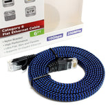 CAT6 10 Gigabit Ethernet Ultra Flat Braided Cable, 6 Feet, Black-Blue