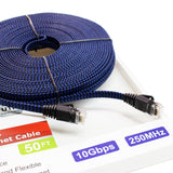CAT6 10 Gigabit Ethernet Ultra Flat Braided Cable, 50 Feet, Black-Blue