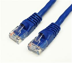 CAT6A 550MHz 24 AWG UTP Bare Copper Ethernet Network Cable, Molded Blue 10 FT