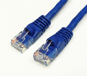 CAT6 550MHz 24 AWG UTP Bare Copper Ethernet Network Cable, Molded Blue 25 FT