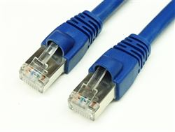 CAT6A 550MHz 24 AWG STP Bare Copper Ethernet Network Cable, Molded Blue 14 FT