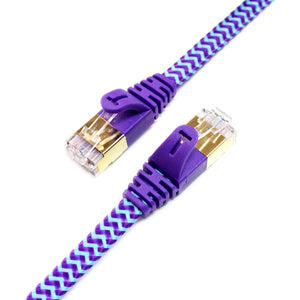 CAT-7 10 Gigabit Ultra Flat Ethernet Patch Braided Cable, 25 Feet Purple & Blue
