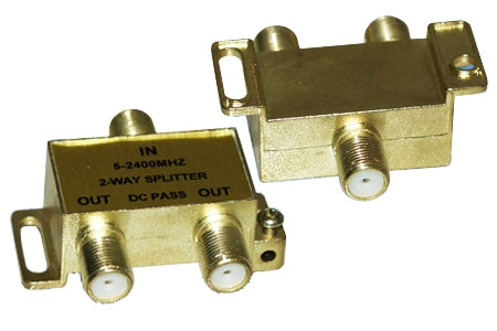 Coax Cable Splitter F-Type, 2 Way, 5-2400MHz  (For Satellite or Cable TV)