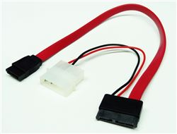 Slimline SATA III Male to SATA III Data & 4-Pin Molex Power Adapter Cable (For Slimline DVD Drives), 40""