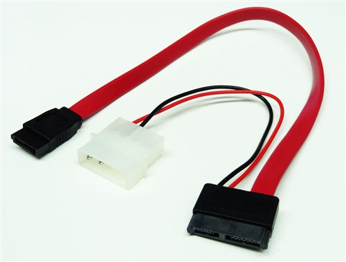 Slimline SATA III Male to SATA III Data & 4-Pin Molex Power Adapter Cable (For Slimline DVD Drives), 12