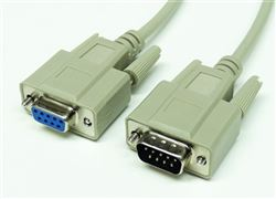 RS-232 Serial Cable, DB9 Male to DB9 Female, 100'