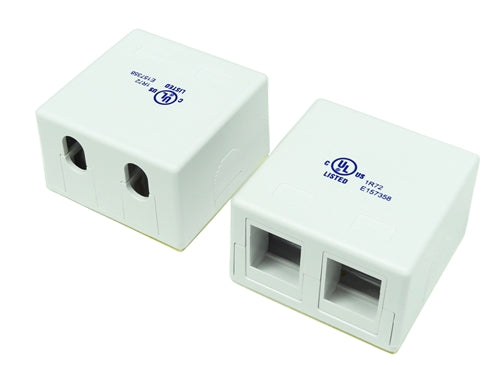 2 Port RJ45 Surface Mount Box, White