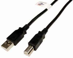 USB 2.0 A Male to B Male cable, Black 10'