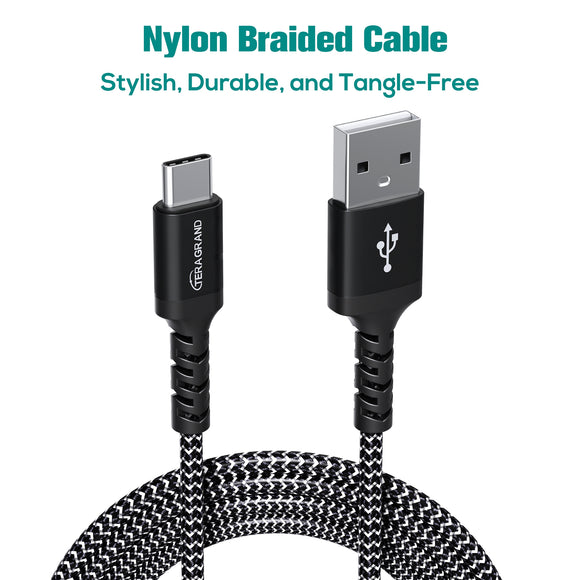 USB 2.0 USB-C to A Braided Cable with Aluminum Housings, Black-White 6'