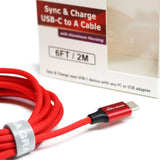 USB 2.0 USB-C to A Fabric Jacket Cable with Aluminum Housings, 6' Red