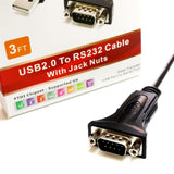 Premium USB 2.0 to RS232 Serial DB9 Adapter Cable - Supports Windows 10, 8, 7, Vista, XP, 2000, 98, Linux and Mac - Built with FTDI Chipset and Hex Jack Nuts, 3 Ft.