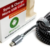 USB 2.0 A to Micro B Braided Cable, 6' Black/White