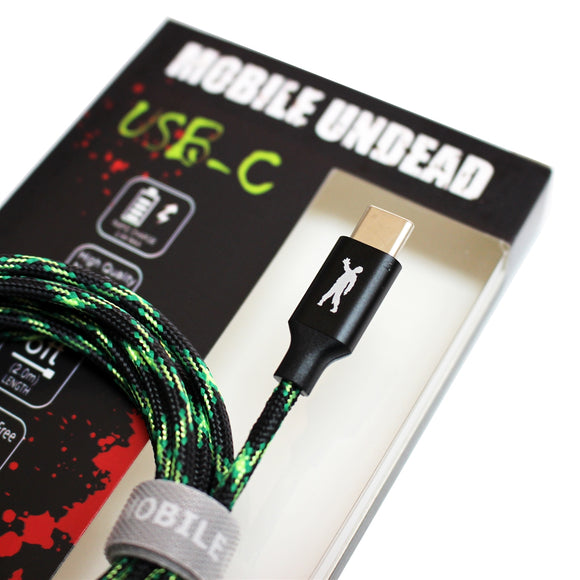 Mobile Undead - High Speed USB 2.0 USB-C to A Sync and Charge Zombie Cable, 6 Ft.