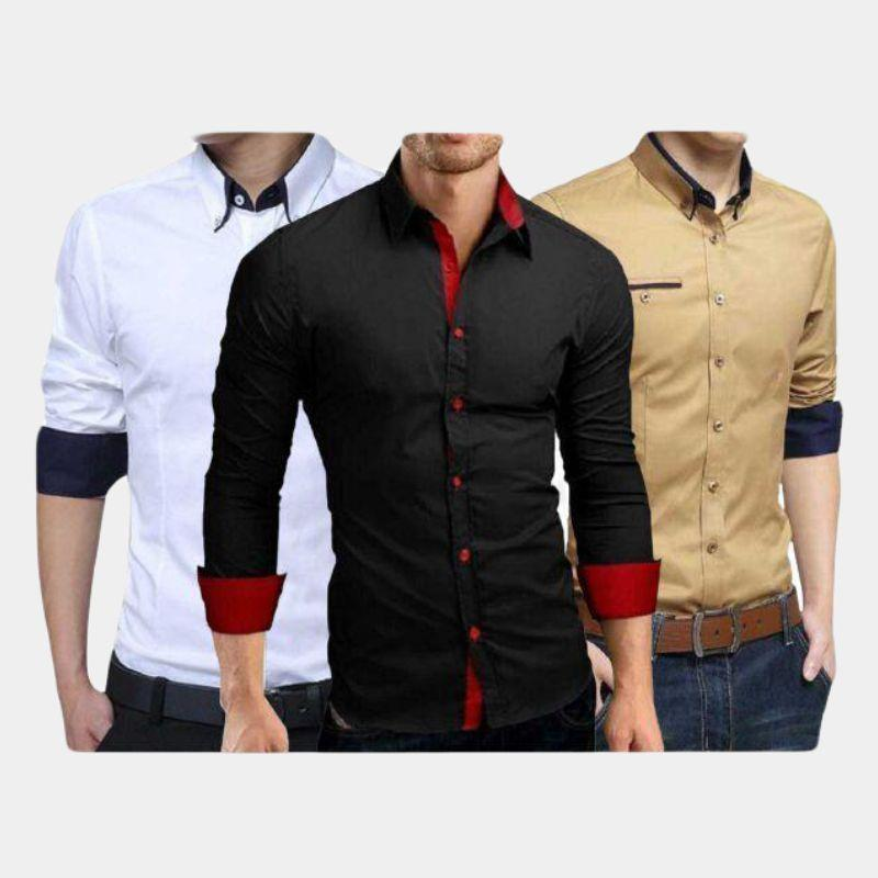 Combo Of 3 Men's Solid Casual Shirts