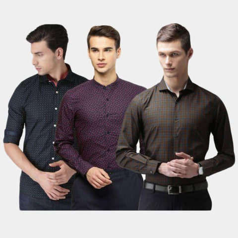 Combo of 3 Slim Fit Mix Fabric Shirts for Men