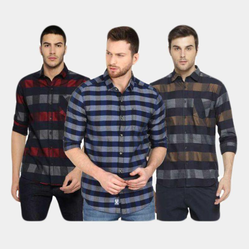 Combo Of 3 Men's Checkered Slim Fit Casual Shirts
