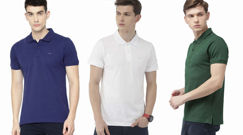 COMBO OF 3 PCS OF BRANDED MEN`S COLLAR T-SHIRT