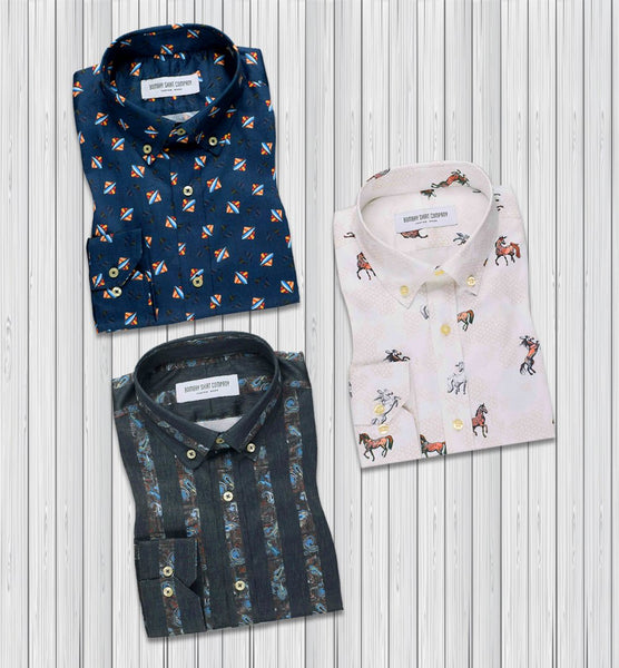 Spain Designer Style Shirts For Men Combo of 3