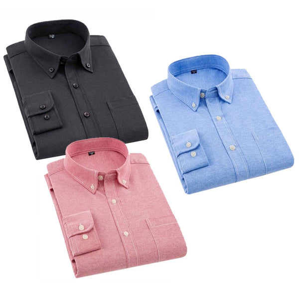 Spain Style Solid Shirts For Men Combo of 3