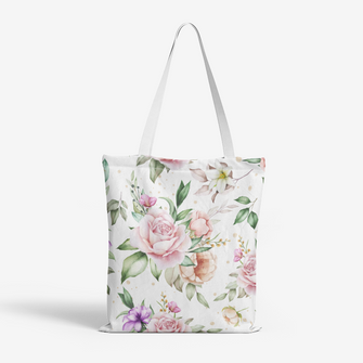 Heavy Duty and Strong Natural Canvas Rose Tote Bag - Merch by Billyforce