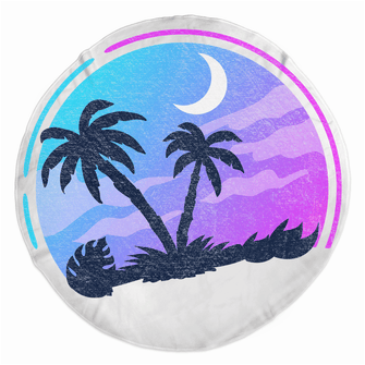 Tropical Night - Rounded Beach Towels - Merch by Billyforce